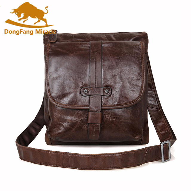 DongFang Miracle Genuine Leather vintage bag Men leather Bags Messenger Bag  laptop Male Casual tote Shoulder Crossbody bags 2232b1437f2fc