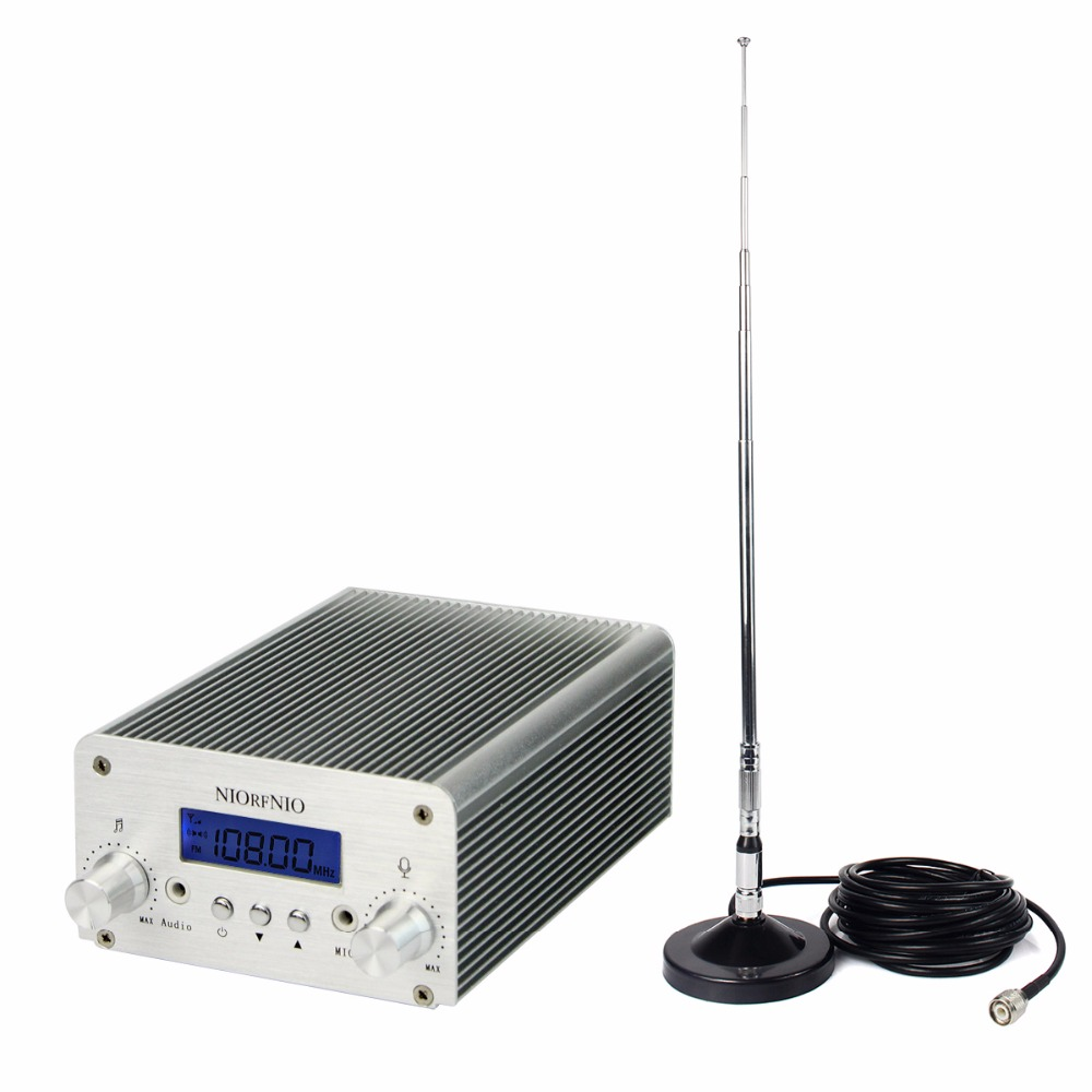 NIORFNIO 5W/15W PLL FM Transmitter Mini Radio Stereo Station Bluetooth Wireless Broadcast + Power + Antenna for FM Radio Y4338D cze 7c 7watt stereo lcd broadcast radio station fm transmitter 12v adapter antenna cable