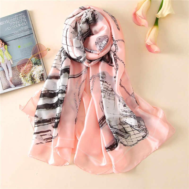 2018 nueva bufanda de verano para mujer de marca de lujo de moda para mujer chales suaves con estampado de seda pashmina foulard para mujer bandana hijab de tamaño largo