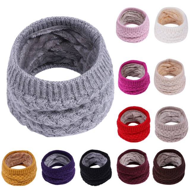 Children Boys Girls Scarf For Winter Scarf Kid Plus Thick Velvet O-Scarf Boys Girls kids Knitted Collar Neck Scarves