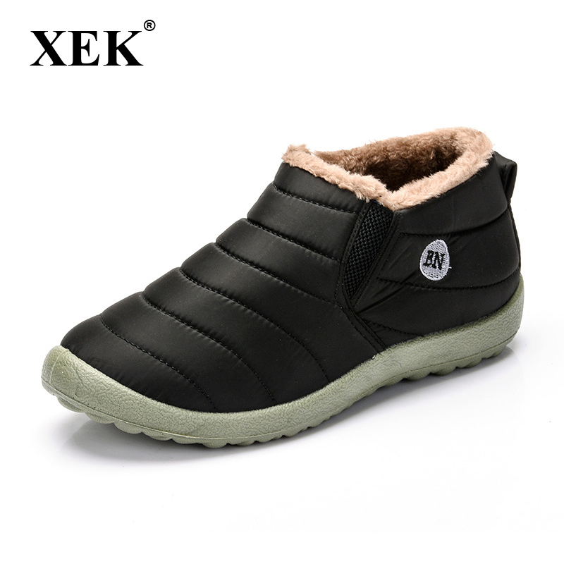 XEK Waterproof Women Winter Shoes Snow Boots Warm Fur Inside Antiskid Bottom Keep Warm Mother Casual Boots BN Dropshipping ST228 2017 new lightweight breathable suede mens casual shoes adult keep warm with fur