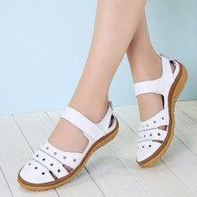 Sandálias femininas casuais, sapatos de verão de couro genuíno para mulheres, mocassins sem cadarço