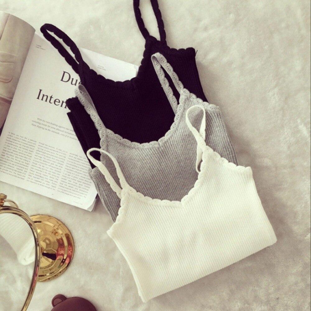 Sexy Women Summer Plain Camisole Knitted Sling V-neck Wavy Vest Slim Tank Tops White/Black/Grey
