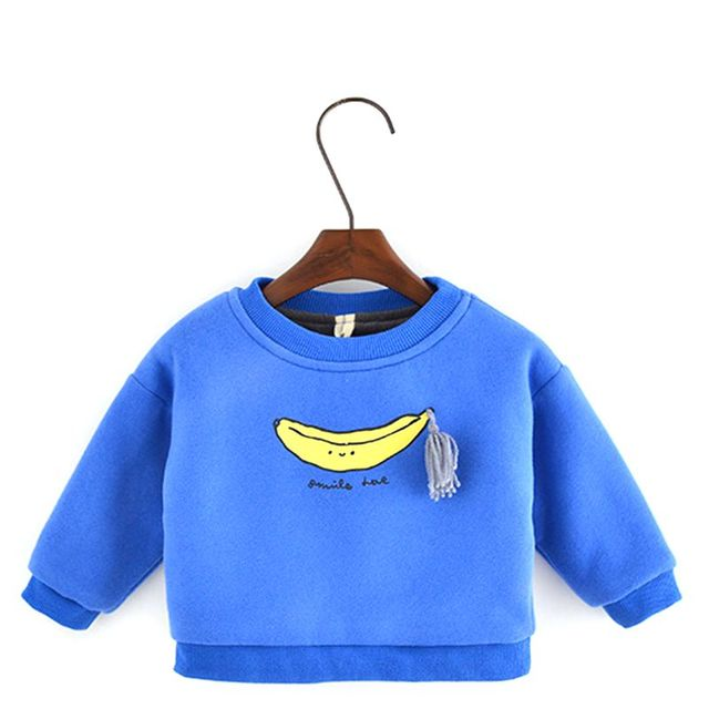 1-4 Years Toddler Baby Girls Boys Sweatershirt Long Sleeves Spring Autumn 2017 New Thick Banana Print Kids Clothes Unisex T4784