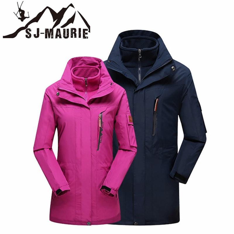 SJ-MAURIE 3in1 hommes femmes veste de randonnée chaude Sking Long manteau polaire imperméable Ski Snowboard pêche randonnée veste de plein air