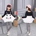 Outono gato dos desenhos animados de algodão roupa das crianças define para as meninas manga longa Top & pant branco e preto tarja legging crianças se adapte 3-12 T