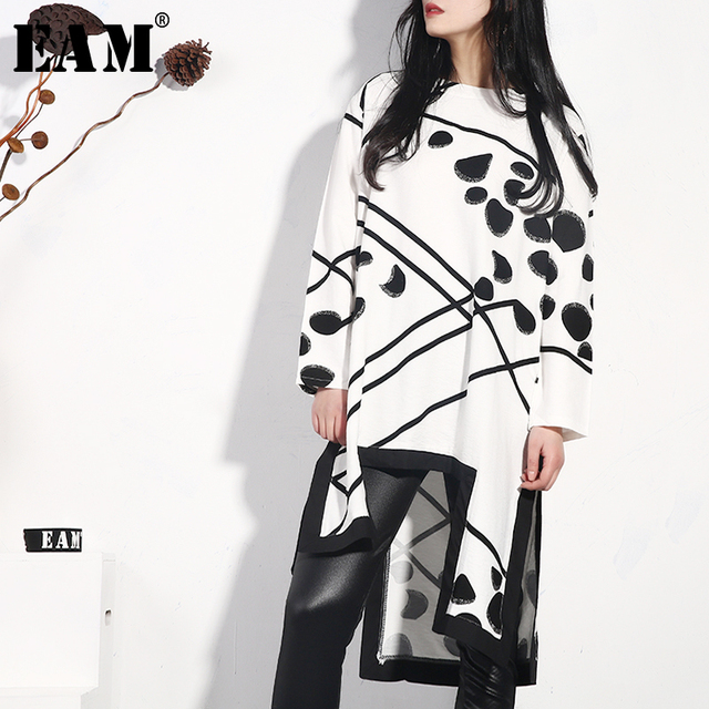 [EAM] 2019 חדש אביב קיץ עגול צוואר ארוך שרוול דפוס מודפס סדיר Hem פיצול משותף Loose שמלת נשים אופנה JO349