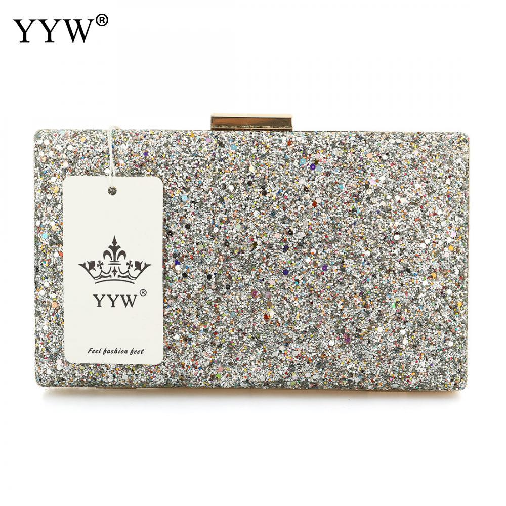 Image 4 - Yyw prata glitter embreagem noite festa saco de embreagem moda feminina luxo bolsa sacos pochettes preto argente casamento crossbody sacoBolsas de mão   -