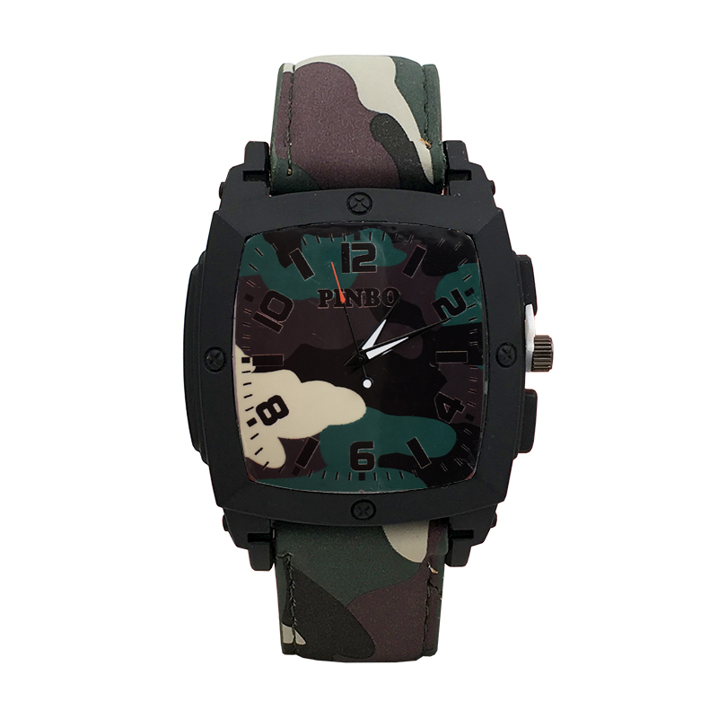 Relogio Masculino 2017 PINBO Brand Military Army Soldier Quartz Digital Sport Watch Men Camouflage Outdoor Leather Strap Watches liebig brand men watches male 50m waterproof quartz watch with calendar for outdoor sport leather strap relogio masculino 1014