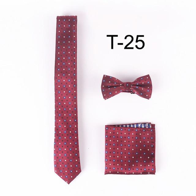 Lingyao designer ties set  5cm leisure narrow necktie with hanky & bowties for party (Tie + handkerchief + Bowtie)