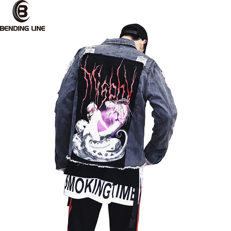 MEN JACKET AND COATS SPRING DENIM JACKET FASHION 2018 PRINT HIP HOP MALE COLLAR JEANS JACKET SHORT PARAGRAPH BASEBALL UNIFORM