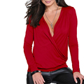 Stylish Lady Women Sexy Low Cut Wrap Long Sleeve Fitted V-neck T-shirt Casual T Shirt Tops