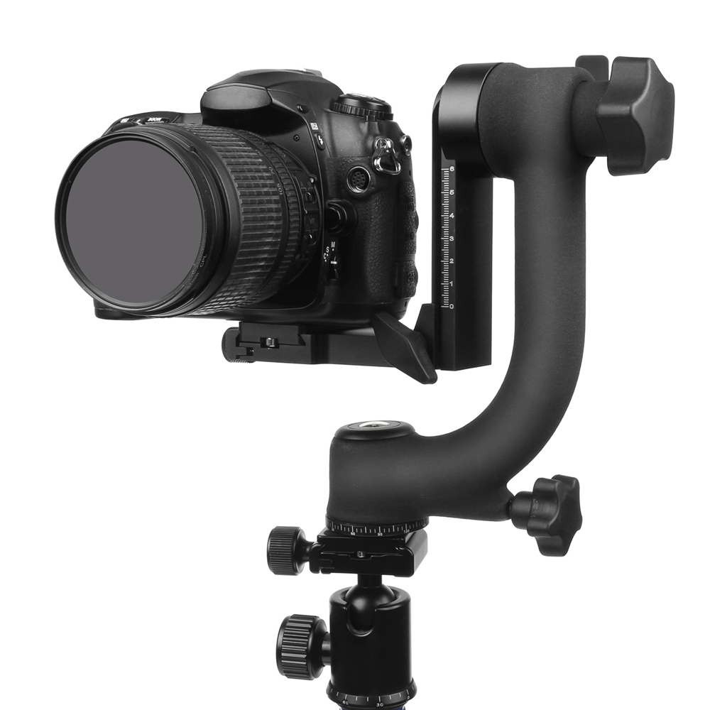 Professional Panoramic 360 Degree Vertical Pro Gimbal Tripod Head 1/4 Screw for Cannon Nikon Pentax Sony DSLR Cameras Camcorder image