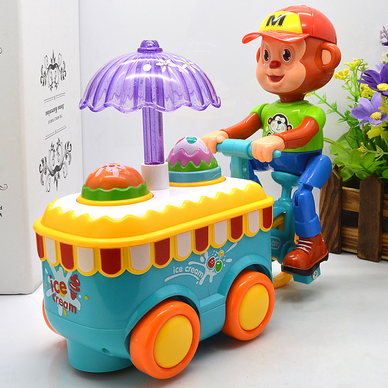 Simulation Electric Small Carts Monkeys Candy Cart Ice Cream Shop Supermarket Children s Kids Learning Educational Toys Gifts