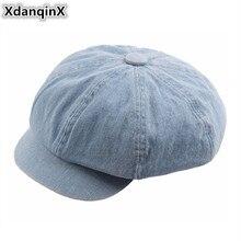 XdanqinX Elegant Vintage Womens Flat Cap Simple Retro Washed Denim Newsboy Caps For Women NEW Octagonal Hat Sombrero De Mujer