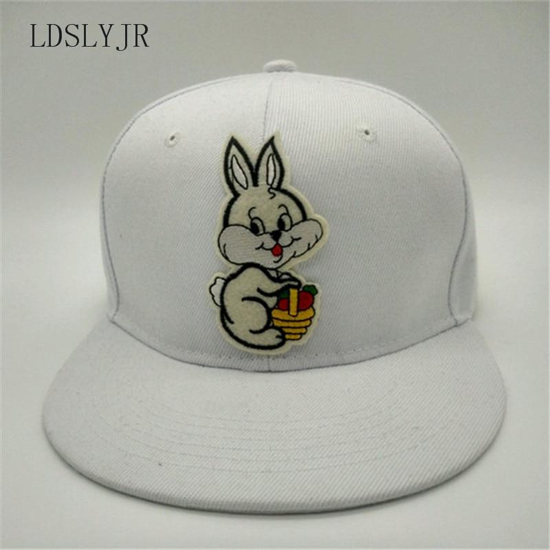 LDSLYJR 2017 cotton Cartoon rabbit Adjustable embroidery baseball cap hip-hop hat snapback cap for women men 42 stylish cartoon lizard embroidery hip hop black baseball hat