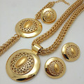 New Exquisite Dubai Jewelry Set Luxury  Gold Plated Big Nigerian Wedding African Beads Jewelry Set Costume Design