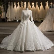 miaoduo πολυτέλεια Νέα φτάνουν κρυστάλλινα χάντρες μακρύ μανίκι νυφικό φόρεμα νυφικό φόρεμα με μαργαριτάρια 2018 Vestido De Noiva Προσαρμογή