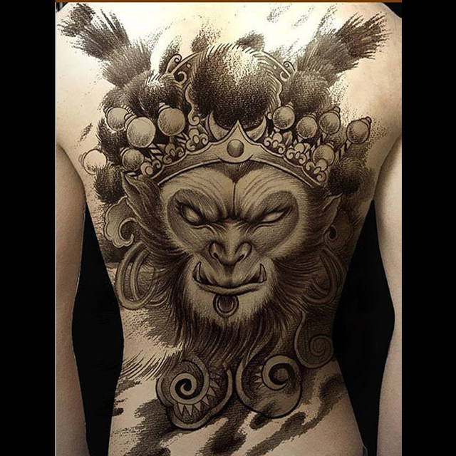 4207294e0 Online Shop Full back temporary tattoos Handsome Monkey King pattern ...