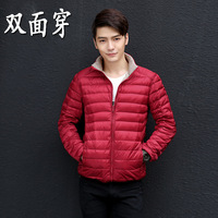 Reversible Ultra Thin Lightweight Down Jacket Men Stand Collar Slim Pleated Long Sleeved Down Jackets 2016