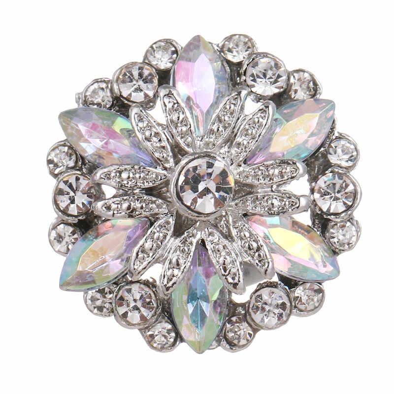 18mm Snap urok przycisk biżuteryjny tajemniczy kryształ kwiat moda Wedding Party DIY akcesoria do włosów na wesele pasuje do każdego Party