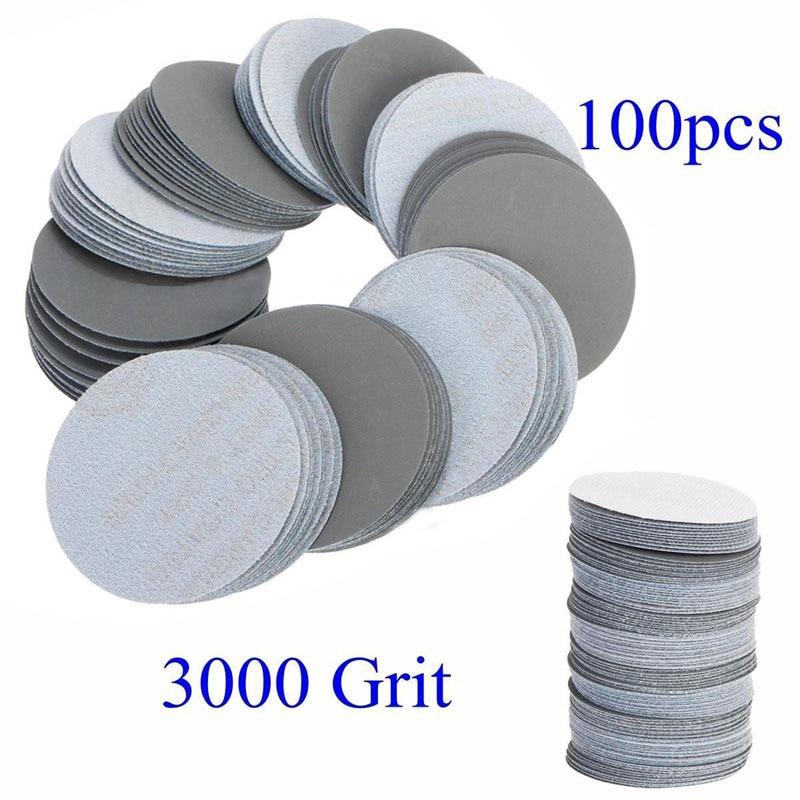 100pcs 3inch Sander Pad 3000Grit Sanding Disc Pad Sander Paper Polishing Sandpaper for Abrasive Tools
