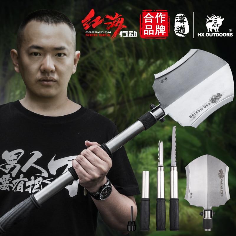HX OUTDOORS Multifunction Survival Camping Shovel Hunting Tool Hand Tools Garden Spade,Snow Shovel for Car ,Outdoor Edc Tool цена
