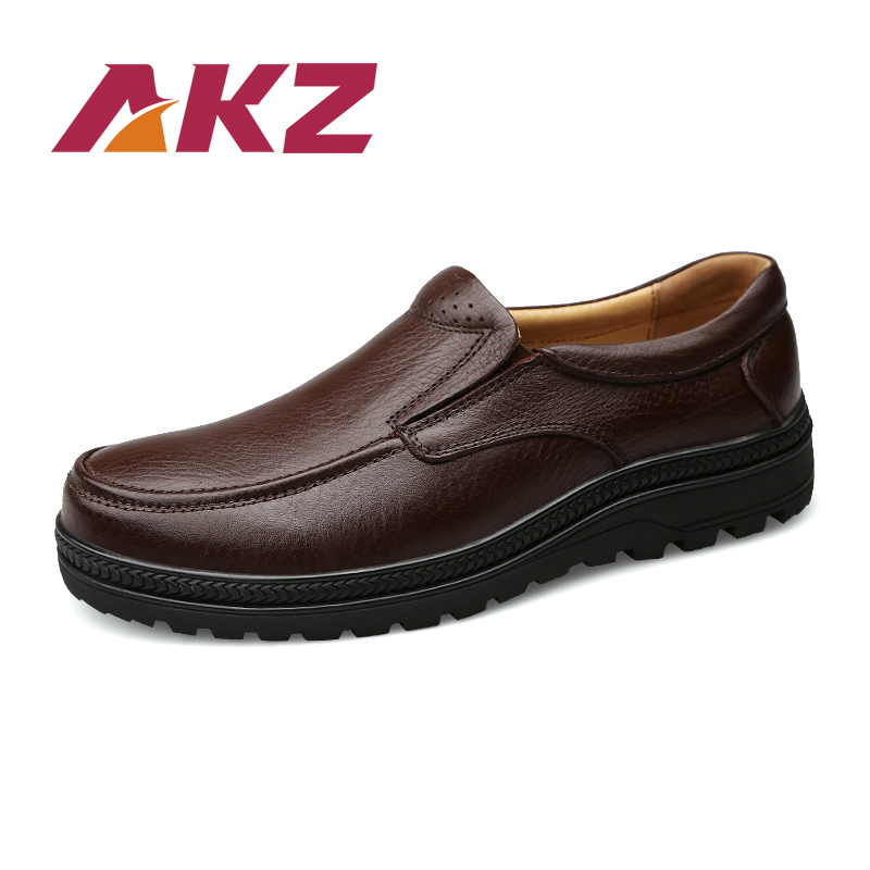 AKZ Brand High quality real leather Male Business Shoes 2018 New Spring classic Mens Casual Shoes