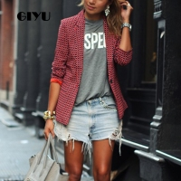 GIYU Spring Red Women Plaid Printing Blazer Long Sleeve Notched Jackets Sexy Slim Tops Casual Camiseta Mujer