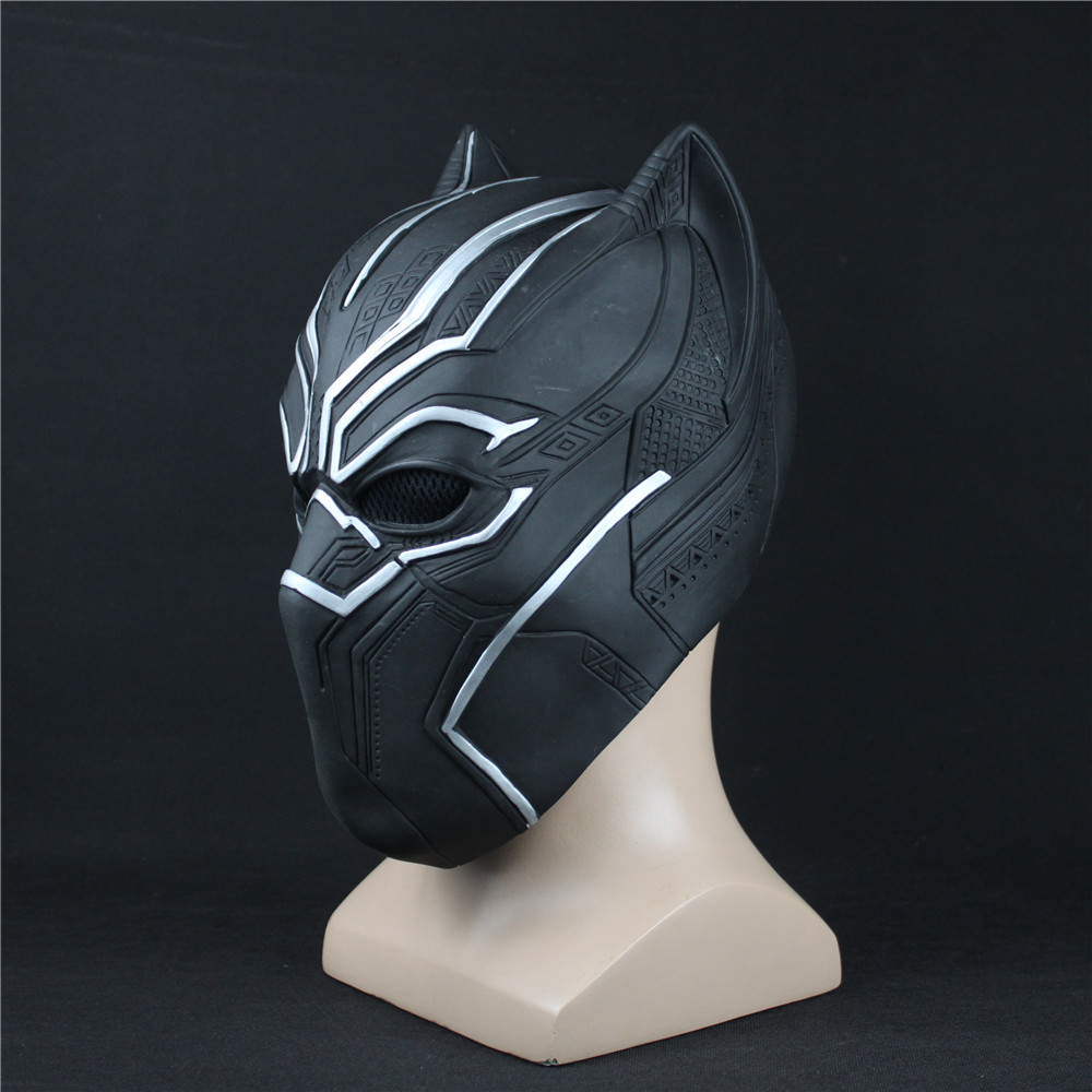 Black Panther Masks Captain America Civil War Roles Cosplay Latex Mask Helmet Halloween Realistic Adult Party Props In Stock hellboy cosplay mask halloween helmets for kids carnival party masks