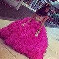2017 Nuevo color de Rosa Caliente Vestidos de Quinceañera Balón vestido de Organza Con Cristales rebordear Vestido de Princesa Vestido de 15 anos Para 15 años