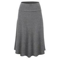 KLV/Лидер продаж юбки для женщин; Большие размеры Твердые Flare низ Высокая Талия пикантная юбка средней длины форма плиссированные юбки беспла...