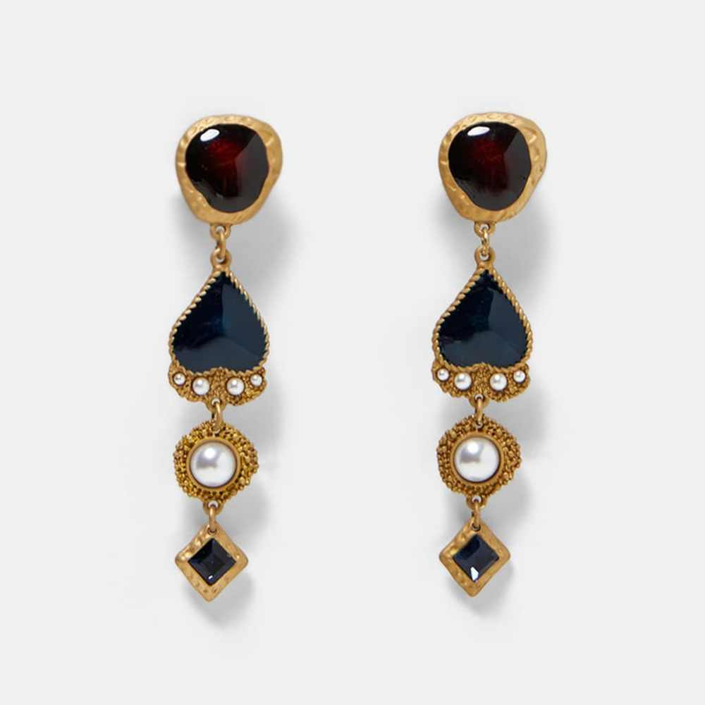 Best lady ZA Fashion Heart Drop Earrings For Women Boho Dangle Simulated Pearl Multicolored Earrings Metal Maxi Jewelry Mashup