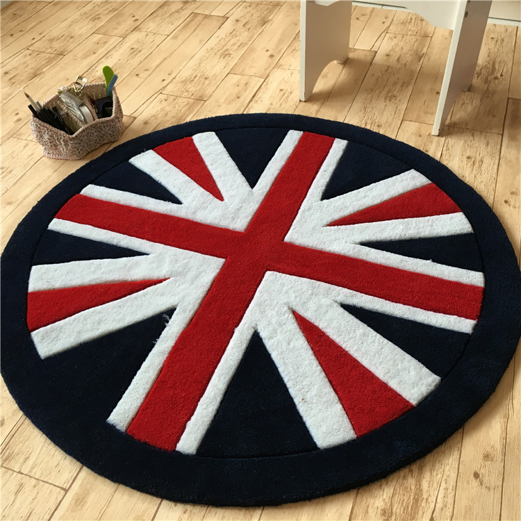 The Acrylic Living Room Coffee Table European Round Carpet Personality Tide Bedroom Rug Jack Flag Cartoon The Union Flag