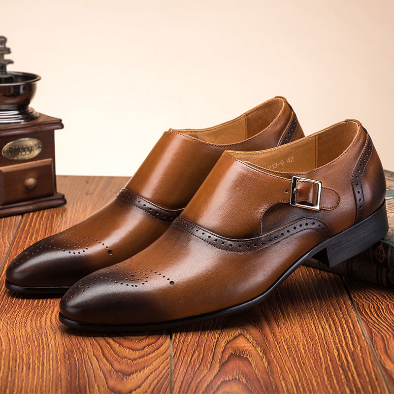 New BIG SIZE Fashion Double Monk Buckle Strap Shoes Wedding Formal Men Dress Shoes Vintage Brogue Oxford Shoes 2019