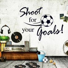 shoot for your goals quotes football wall stickers for kids rooms living room boy's bedroom decor wall art decals gift(China)