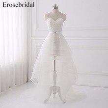 New 2018 High Low Wedding Dresses Plus Size Erosebridal Lace Dress Elegant Sashes Crystal Bridal Gown Vestido De Noiva