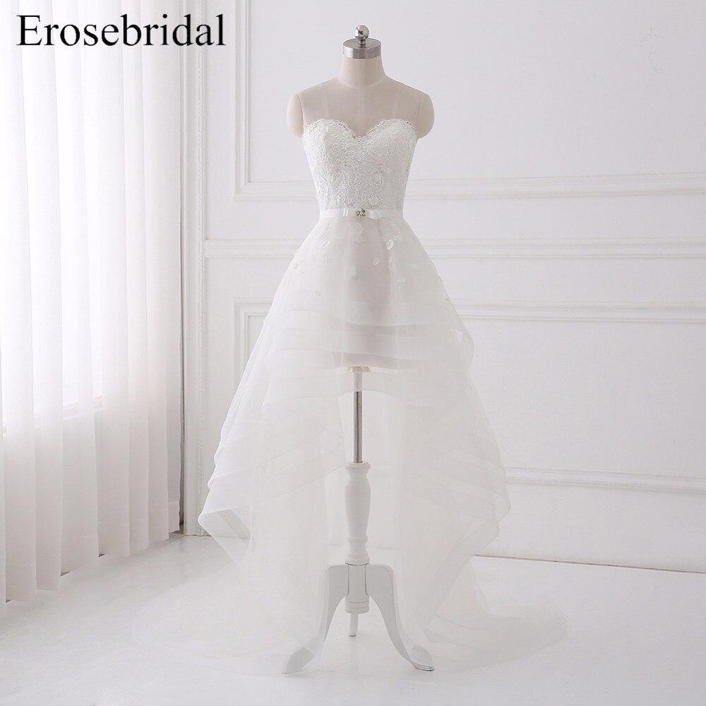 Novo 2018 Alta Baixa Vestidos de Casamento Plus Size Erosebridal Caixilhos Cristal Rendas Vestido De Noiva Elegante vestido de Noiva Vestido De Noiva