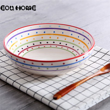 8 Inche Creative Deep Bowls Pure Hand Draw Salad Bowls Soup Bowl Porcelain Serving Dish for Fruit Nuts Vegetable Plate Tableware