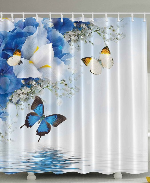 Memory Home Fabric Shower Curtain Blue White Wild Flowers Monarch Yellow Butterflies Theme Floral Bathroom Decor Prints Design