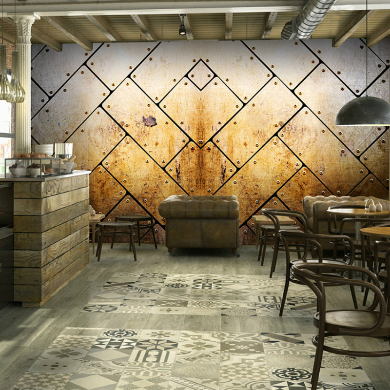 Custom vintage 3d wallpaper industrial metal rust sepia for Cafe mural wallpaper