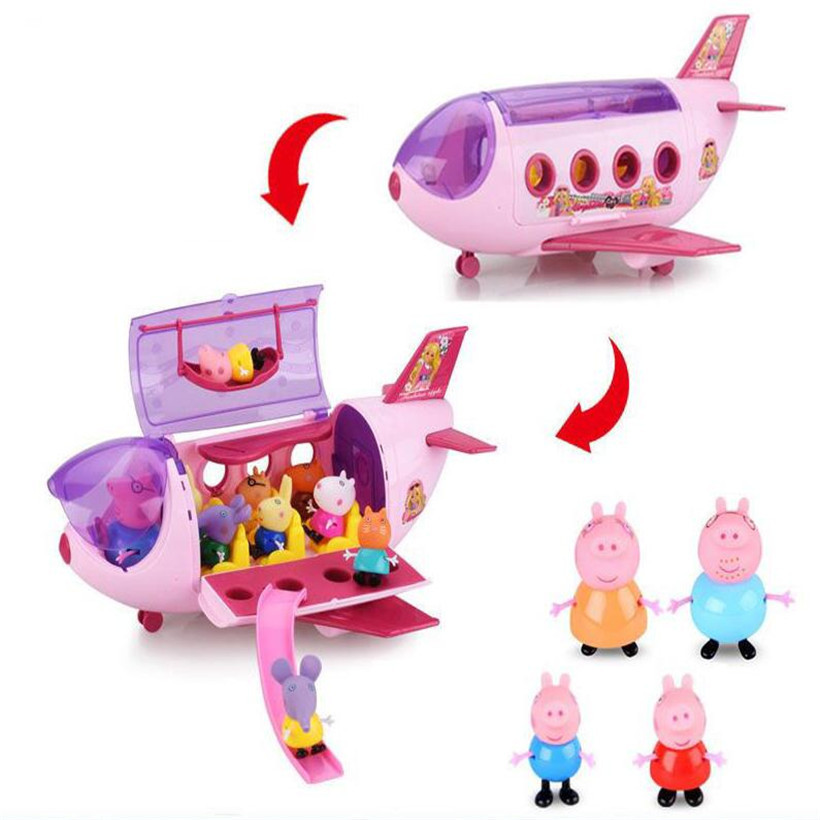 Peppa Pig New Aircraft Family For Kid Full Range Of Roles Figure Original A Variety Friends Plush Peppa Soft Head Doll Car Toys