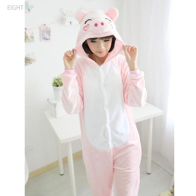 Berwarna Merah Muda Babi Onesies Baju Tidur Piyama Hewan Baju Tidur  Jumpsuit Pesta Natal Halloween Pakaian 347b8a1fa6