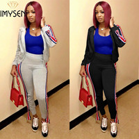 IMYSEN Tracksuit Women Two Piece Set Spring Autumn New Long Sleeve Zipper Jacket Tops Pants Suit