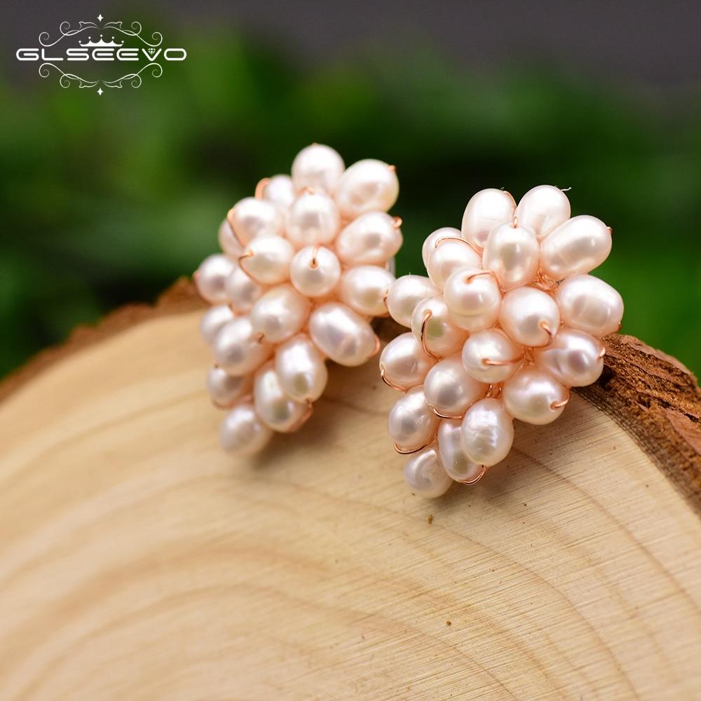 GLSEEVO Handmade Natural Fresh Water White Pearl Heart Shape 925 Sterling Silver Stud Earrings For Women Luxury Jewellery GE0660