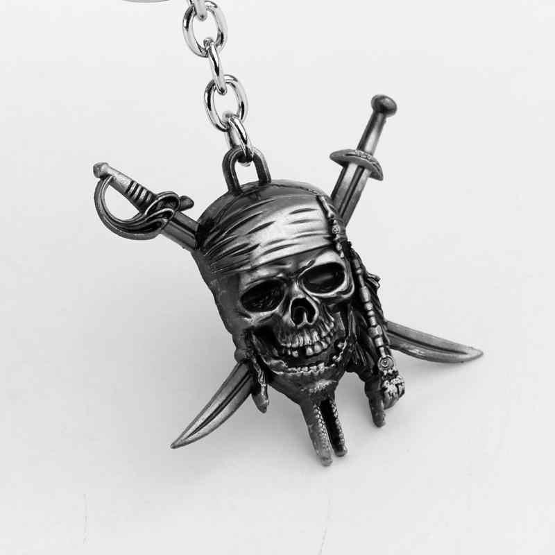 MQCHUN Pirates Of The Caribbean Skull keychain JACK SPARROW AZTEC Keychain đồng Mask Đội Trưởng Skull Chéo Keyring Men Gift