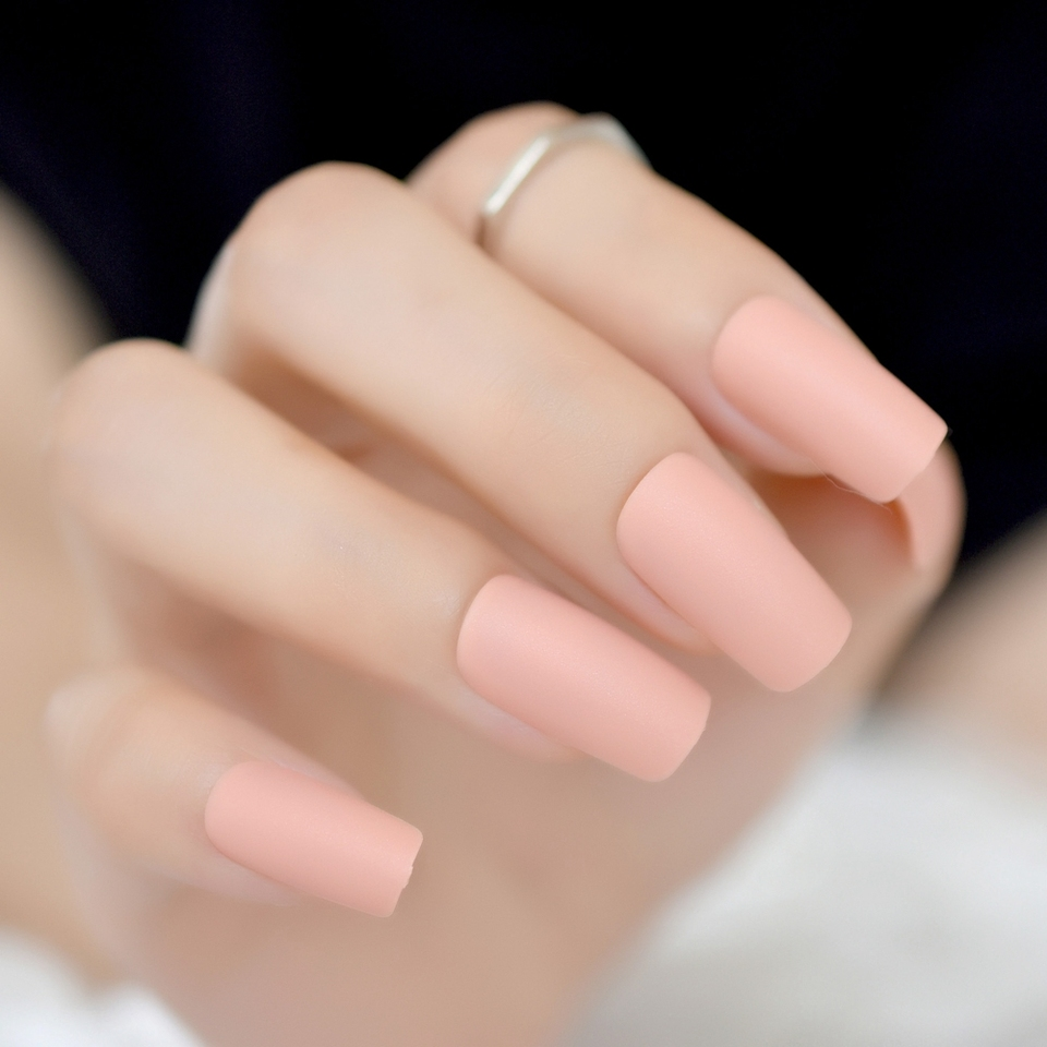 Matte Nude Pink Press on Nails Candy Slim Size Medium,Long Fake Nail Art  Tips DIY Manicure Tips Square Top 24 Count