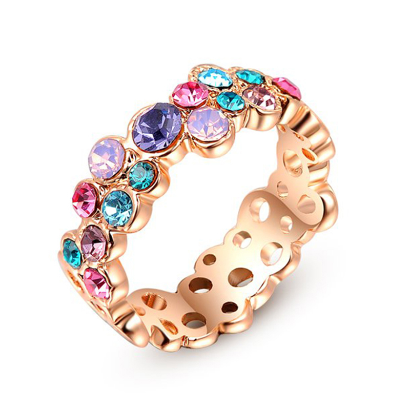 exquisite multicolor austrian crystal costume jewelry white rose gold color women beautiful wedding ring utr1142 - Beautiful Wedding Ring