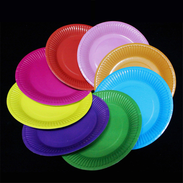 10pcs Disposable Paper Plates Birthday Wedding Halloween Party Tableware Candy Color Paper Plates Baby Shower natal & 10pcs Disposable Paper Plates Birthday Wedding Halloween Party ...