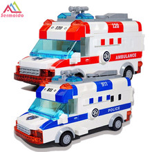 sermoido 48pcs Building Blocks Ambulance Model DIY Bricks Compatible With Duplo Toys For Children DBP269